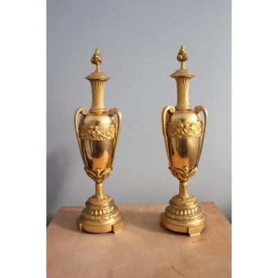 Paire De Vases Couverts D'epoque Charles X