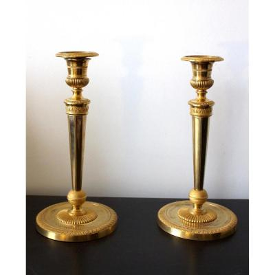 Pair Of Empire Period Candlesticks