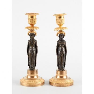 Pair Of Empire Gilt Bronze And Patinated Candlesticks