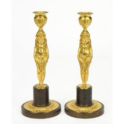 Pair Of Gilt Bronze And Patinated Candlesticks