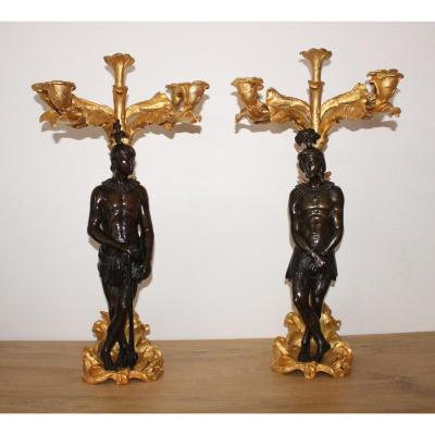 A Pair Of Napoleon III Gilt Bronze And Patinated Bronze Candelabra