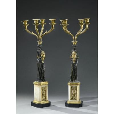 Large Pair Of Candelabra With Four Lights - Late 18th Century