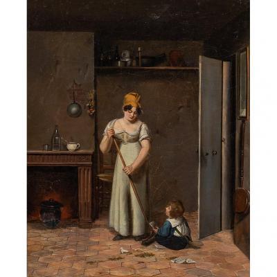 Femme Et Jeune Enfant  À La Carte À Jouer