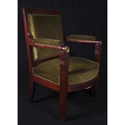 A Large Apparat Empire Mahogany  Armchair