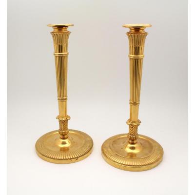 Paire De Flambeaux d'Epoque Empire En Bronze Doré