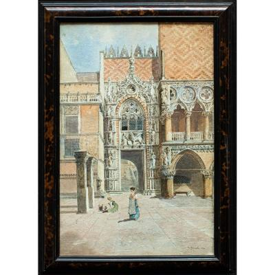 Salvatore Petruolo (Catanzaro, 1857 - Naples, 1946)<br /> Porta della Carta, Doge&#39;s Palace in Venice<br /> Watercolor on paper, 55.5 x 37 cm<br /> Work signed and dated lower right &quot;S. Petruolo 1890&quot;<br /> <br /> The watercolor depicts the Porta della Carta which stands between the Doge&#39;s Palace and the Basilica of San Marco and owes its name to the fact that the new laws and decrees were displayed there, or even to the fact that there were archives state nearby. . It was the monumental entrance to the palace and was built between 1438 and 1442 by Bartolomeo Bon for the doge Francesco Foscari who is depicted above the entrance, in front of the Marcian lion (the statue is a 19th century copy for replace the original destroyed during the riots of 1797).