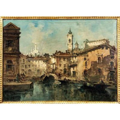 View Of The Naviglio With The Duomo, G. Riva (1834 - 1916)
