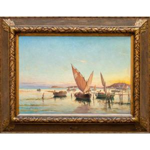 Victor Coste (1844 - 1923), Marina With Boats