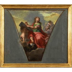 Fin Du XVIIIe Siècle, Étude Pour Un Panache De Dôme Avec Saint Jean l'Evangéliste