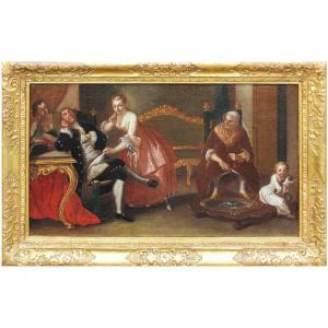 Scène De Genre, Maître Des Réflexions, Seconde Moitié Du XVIIIe Siècle