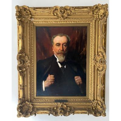 Grand Portrait Par Benjamin-Constant De Son Ami Paul David Fin XIX Tableau Huile Sur Toile