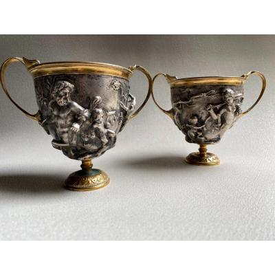 Pair Of Kantharos  Cup Of The Centaurs Of Pompei, Naples, Italy Replicas XIX Silver Bronze