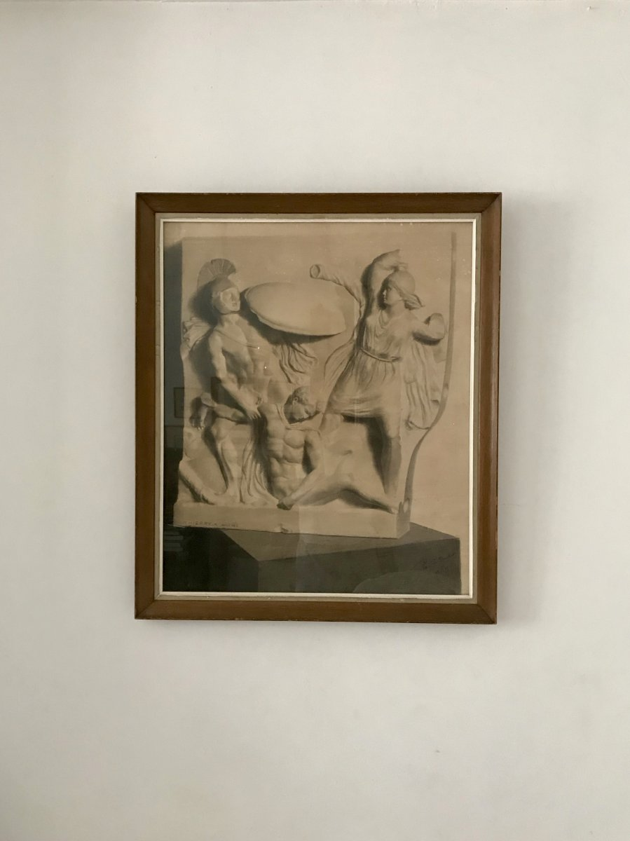Deux Grands Dessins  XIXe - Combat Des Amazones - d'Après Un Bas Relief Antique, G.thierry 1888-photo-3