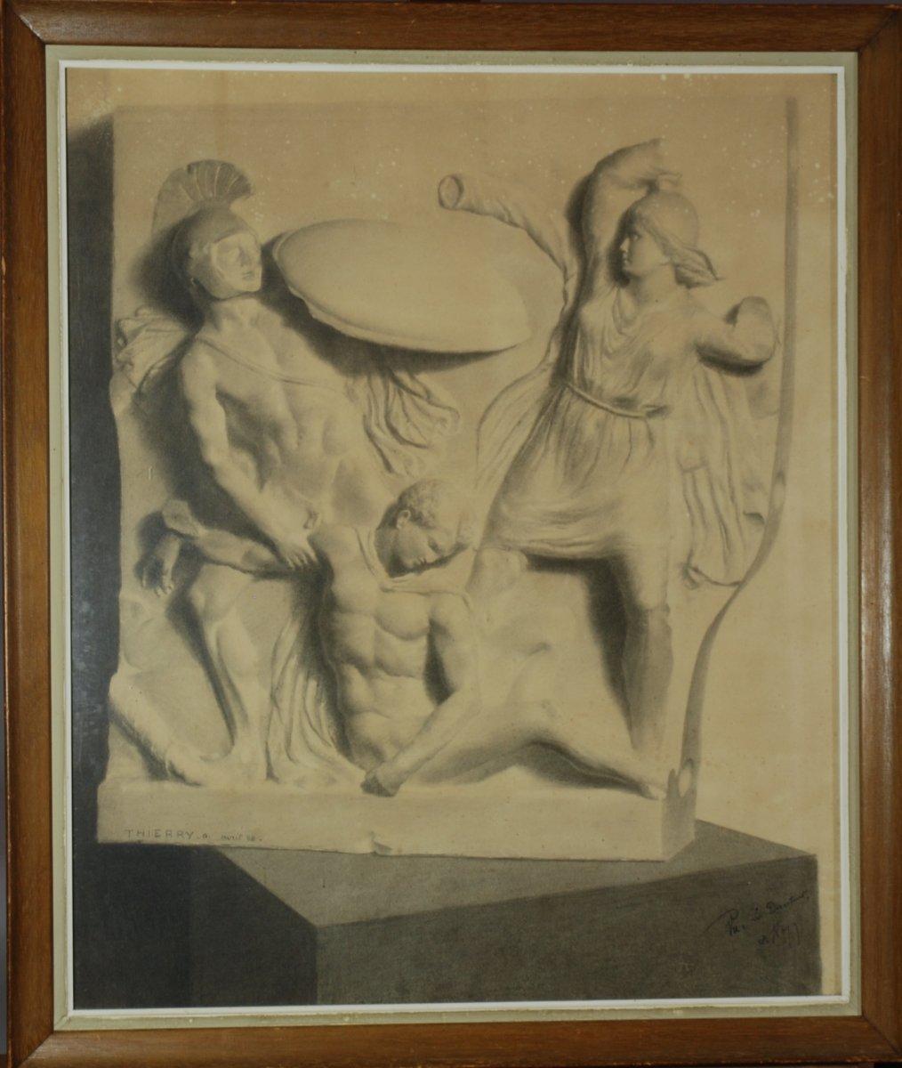 Deux Grands Dessins  XIXe - Combat Des Amazones - d'Après Un Bas Relief Antique, G.thierry 1888-photo-1