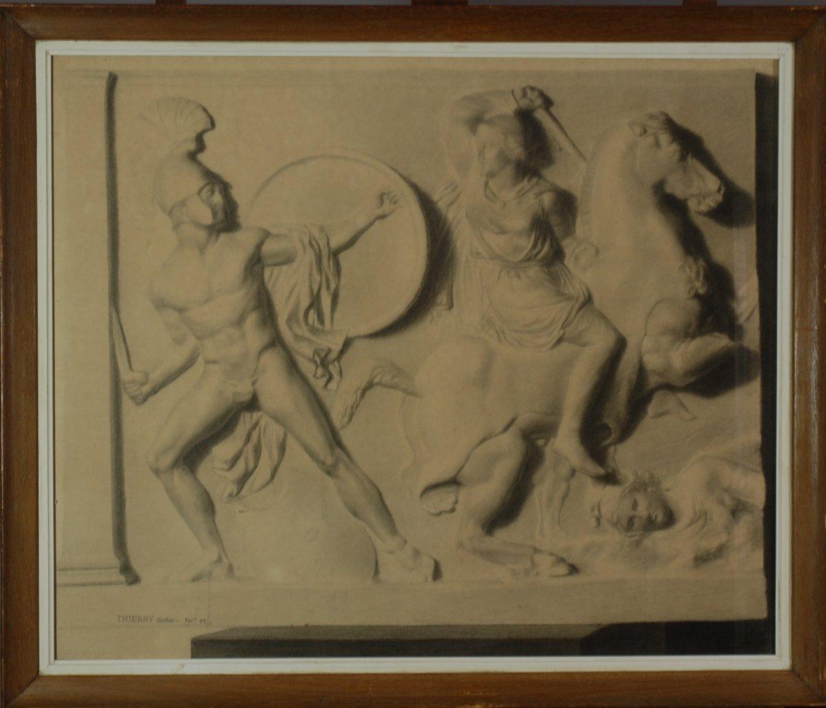 Deux Grands Dessins  XIXe - Combat Des Amazones - d'Après Un Bas Relief Antique, G.thierry 1888-photo-2