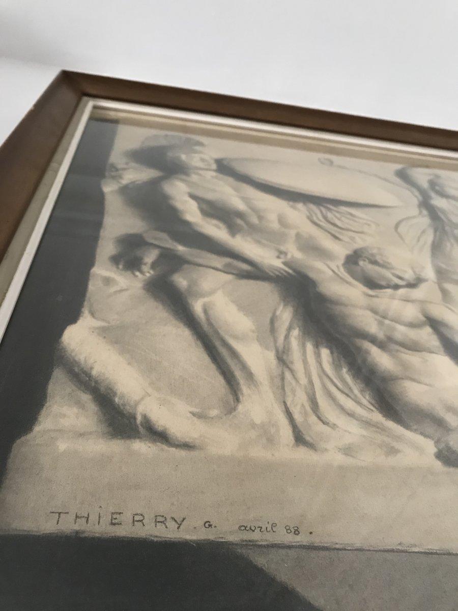 Deux Grands Dessins  XIXe - Combat Des Amazones - d'Après Un Bas Relief Antique, G.thierry 1888-photo-6