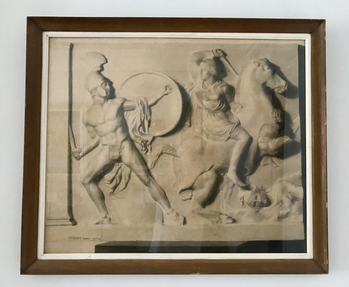 Deux Grands Dessins  XIXe - Combat Des Amazones - d'Après Un Bas Relief Antique, G.thierry 1888