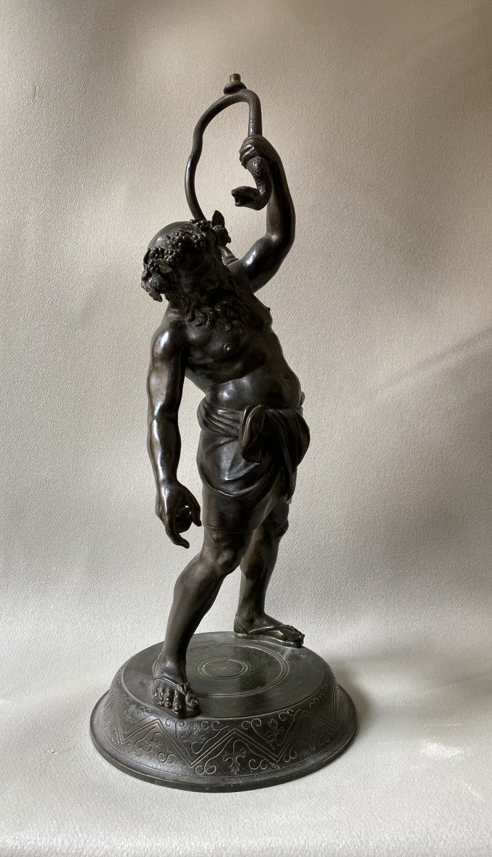 Silene Drunk, Bronze After The Ancient  (mountable In Lamp)-photo-2