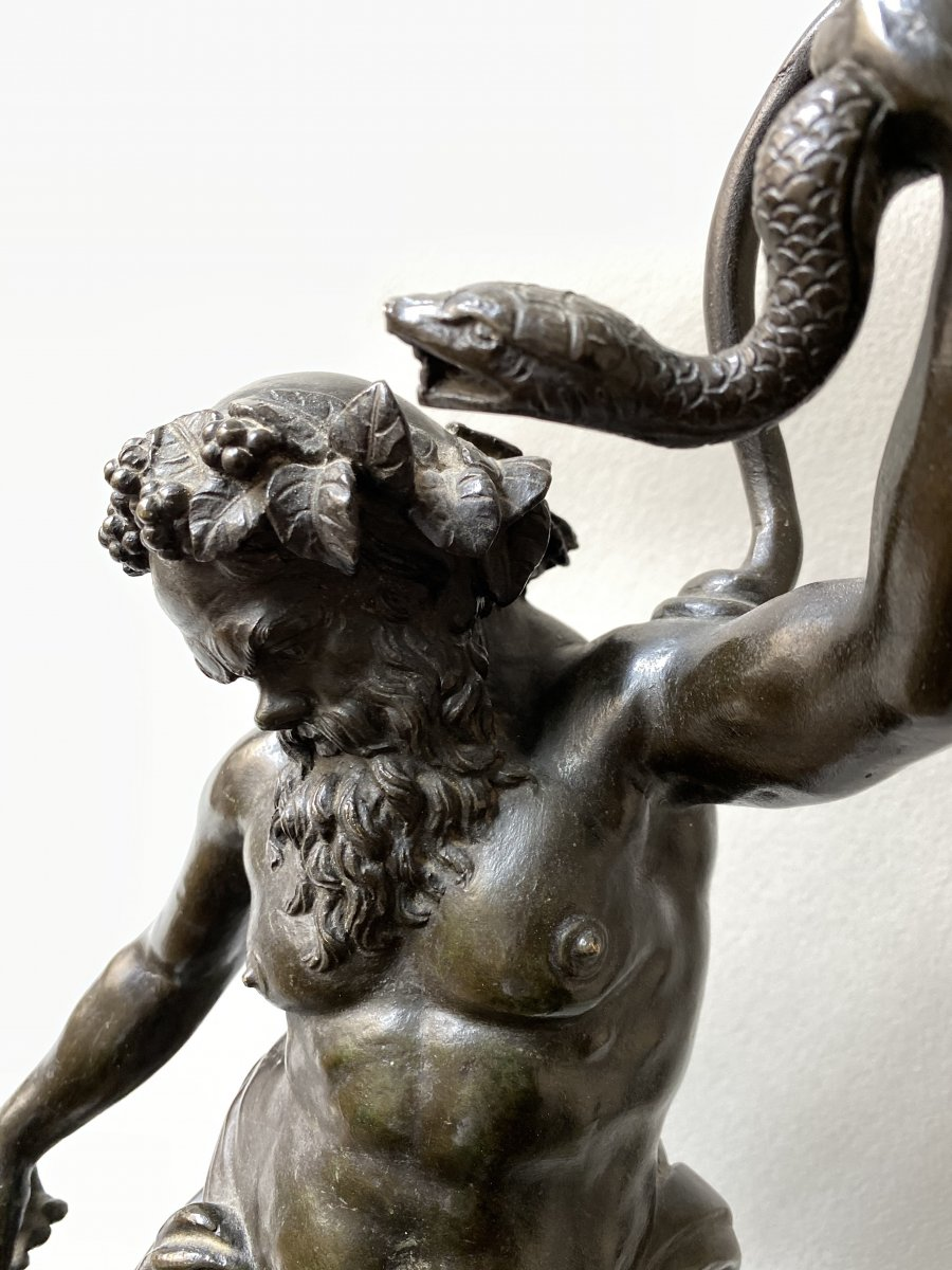 Silene Drunk, Bronze After The Ancient  (mountable In Lamp)-photo-3