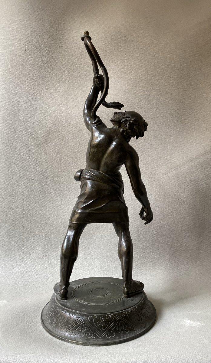 Silène Ivre,  Bronze d'après l'antique  ( montable en lampe) -photo-1