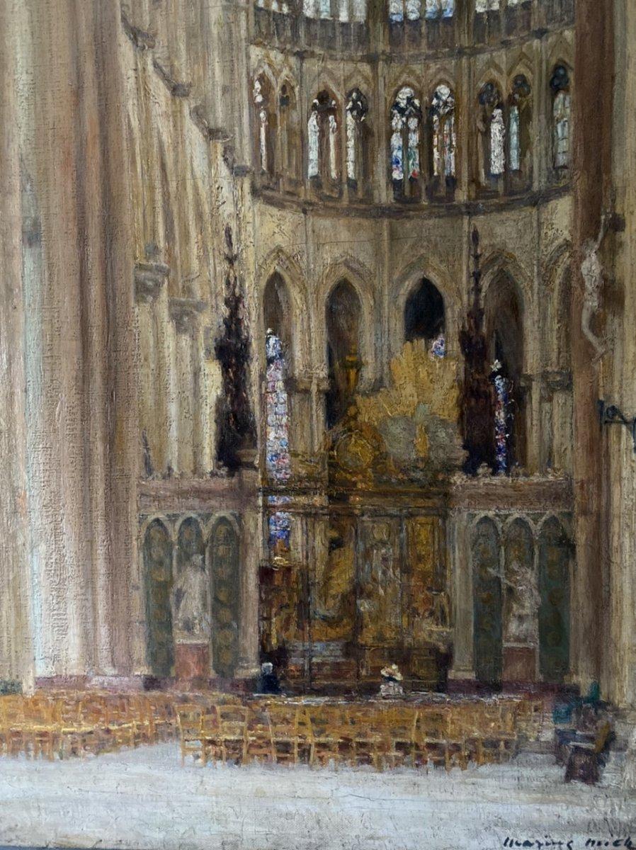 Intérieur De La  Cathédrale D'Amiens  Par Marius Michel post-impressionist