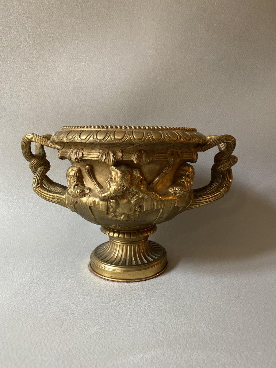 Vase Warwick En Bronze Doré XIXe d'après l'antique -photo-2