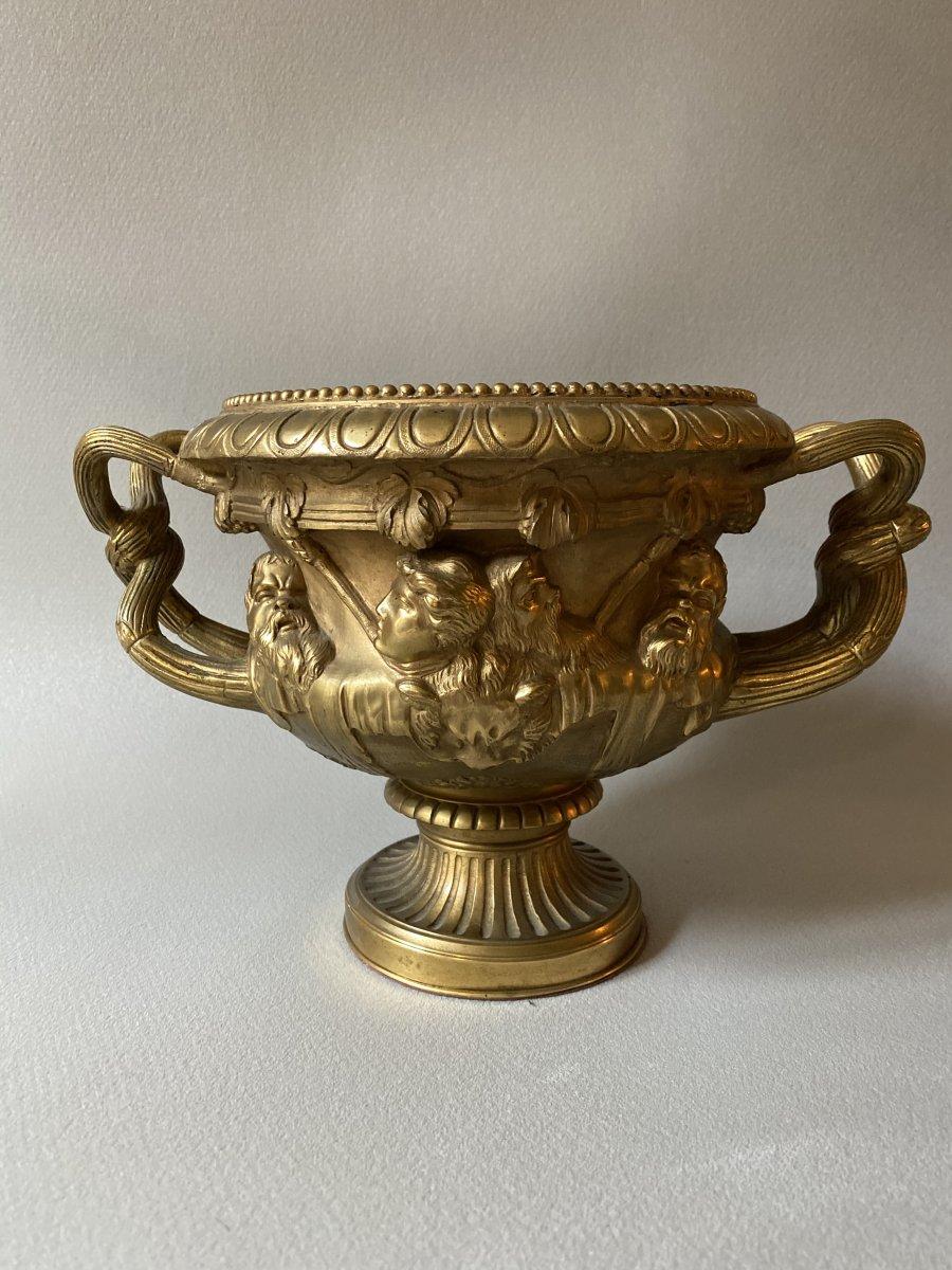 Vase Warwick En Bronze Doré XIXe d'après l'antique