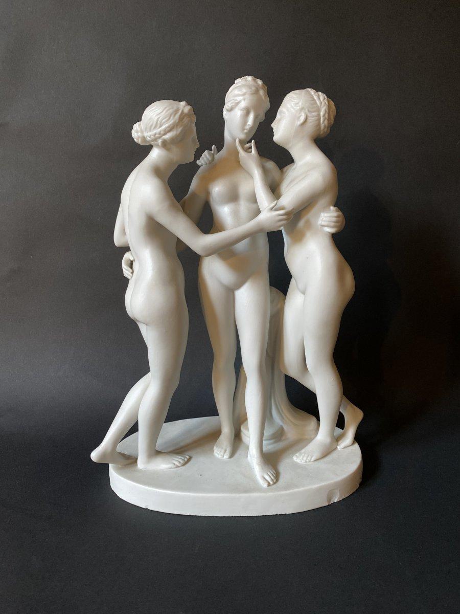 Les Trois Graces Sujet En Biscuit Porcelaine   Bertel Thorvaldsen (1770-1844) Danemark
