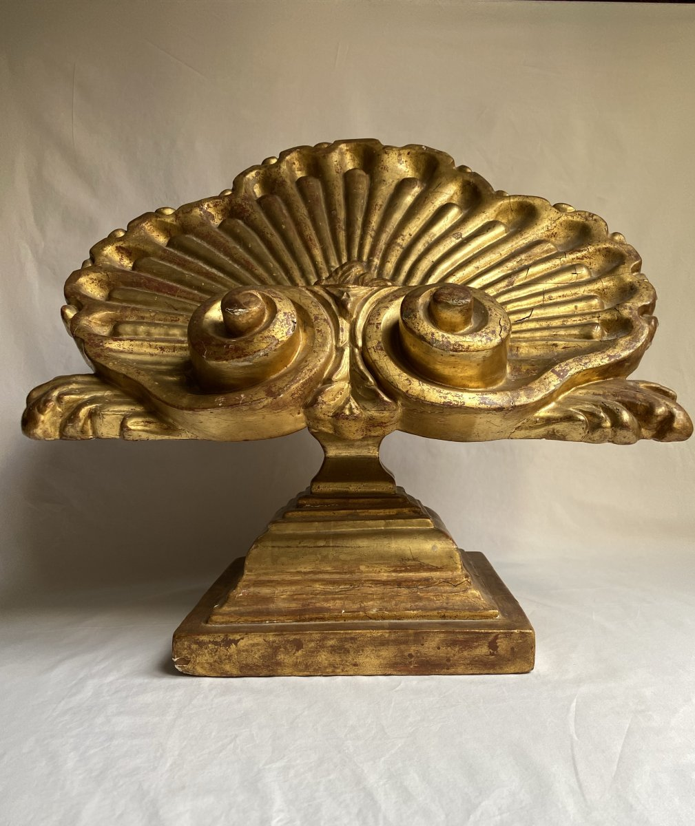Large Lectern In The Shape Of A Shell - Golden Wood - Italy XVII - XVIII-photo-2