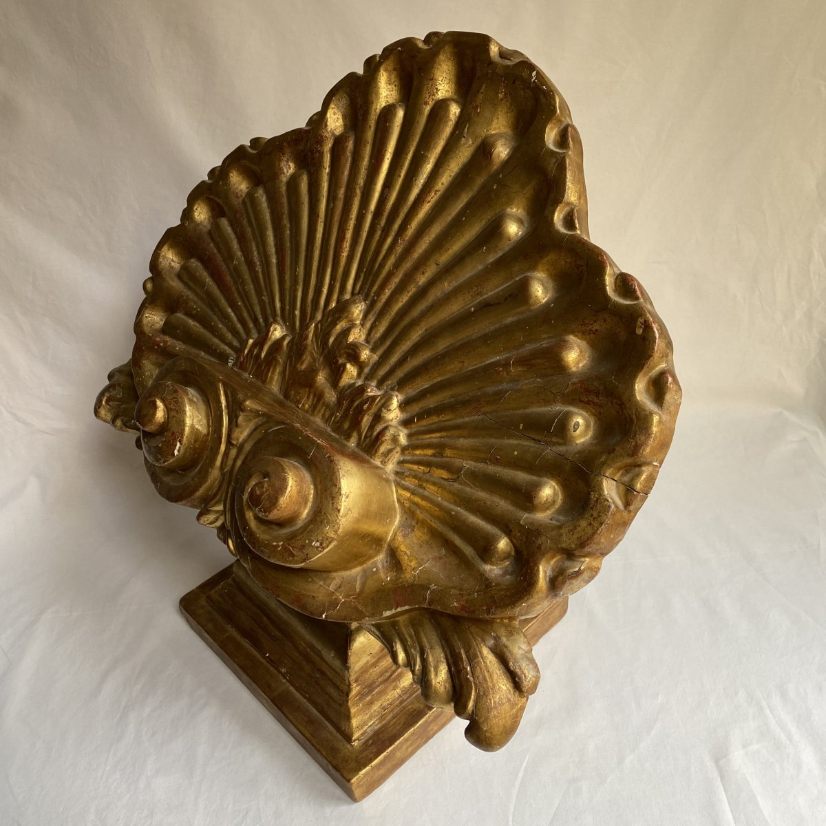 Large Lectern In The Shape Of A Shell - Golden Wood - Italy XVII - XVIII-photo-4