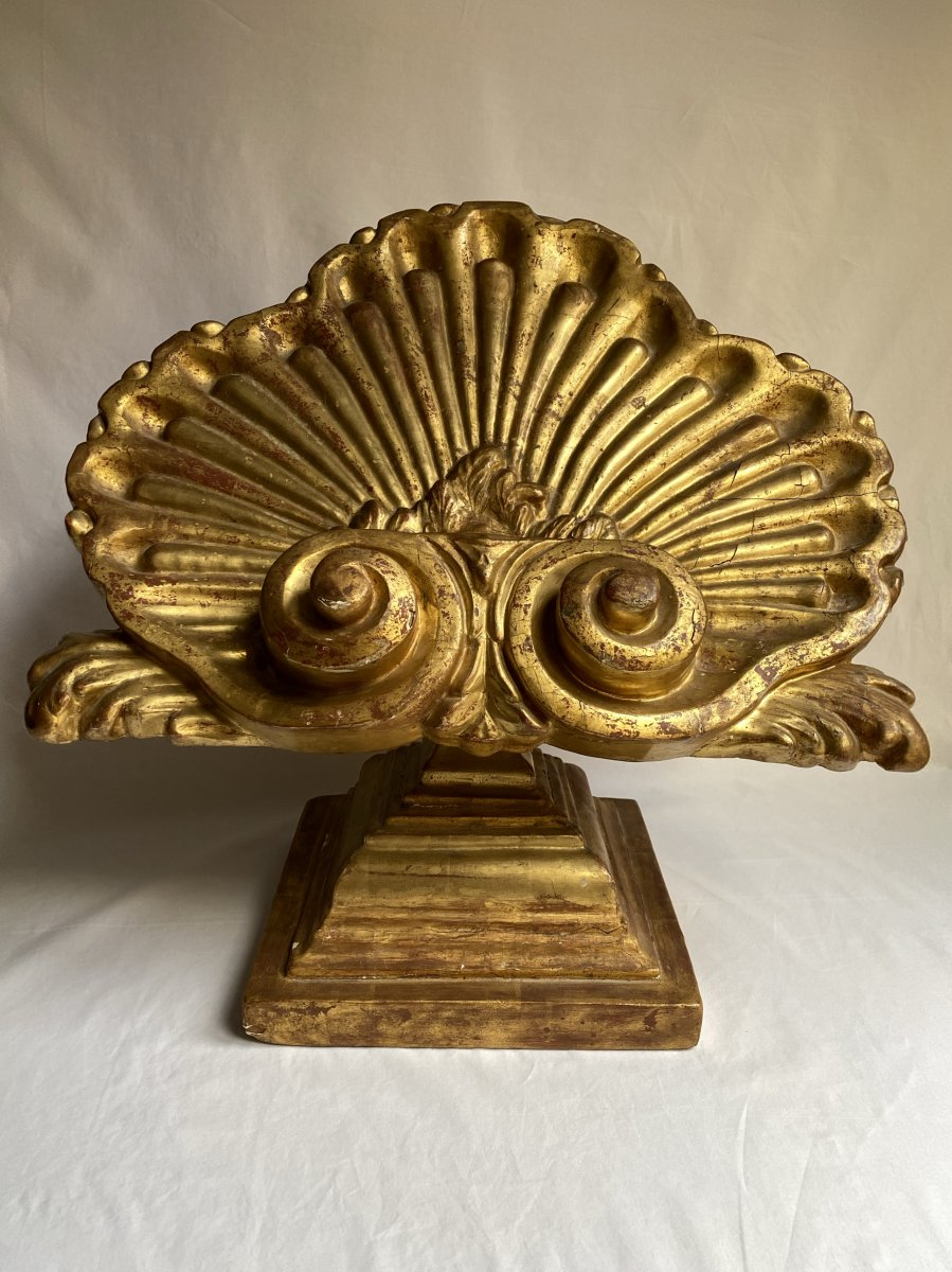 Large Lectern In The Shape Of A Shell - Golden Wood - Italy XVII - XVIII