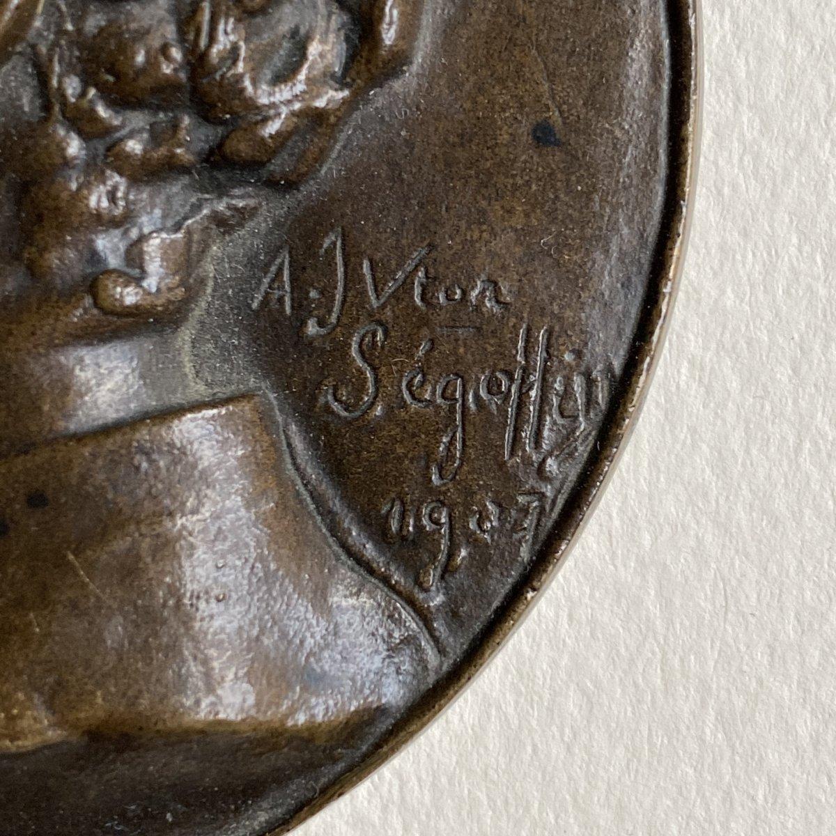 Joaquín Albarrán Medallion In Bronze Signed Victor Segoffin (1867-1925)-photo-3