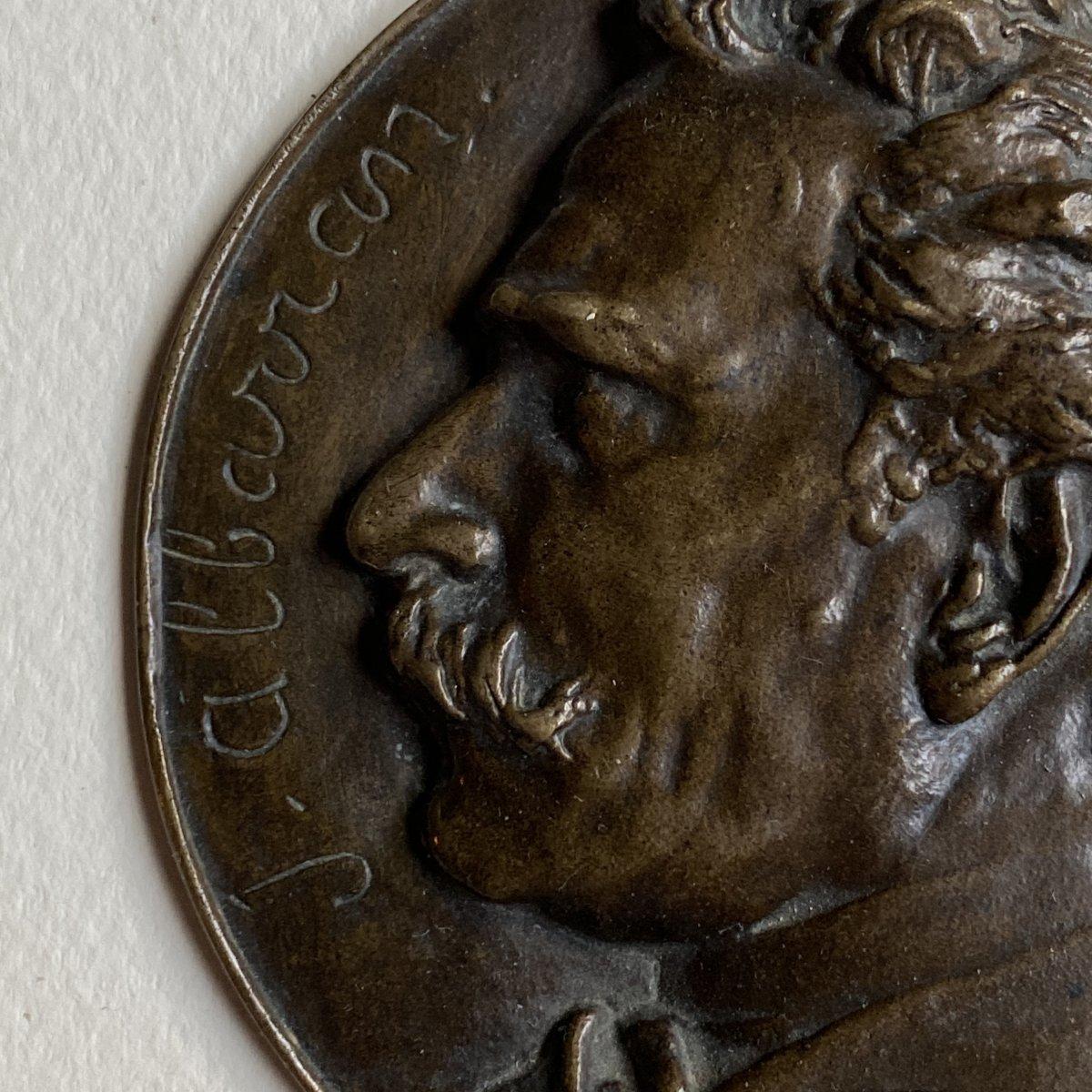 Joaquín Albarrán Medallion In Bronze Signed Victor Segoffin (1867-1925)-photo-4