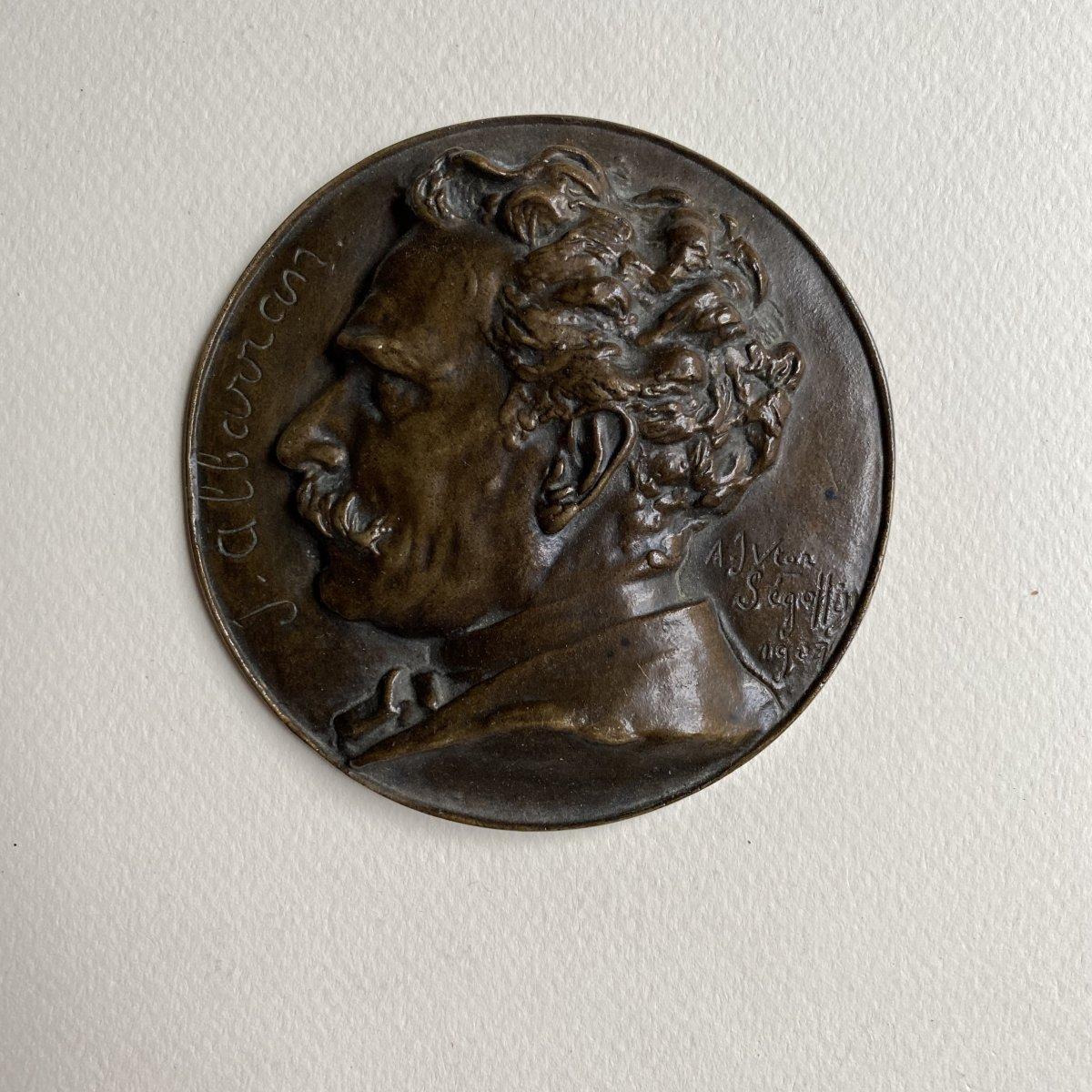 Joaquín Albarrán Medallion In Bronze Signed Victor Segoffin (1867-1925)-photo-2