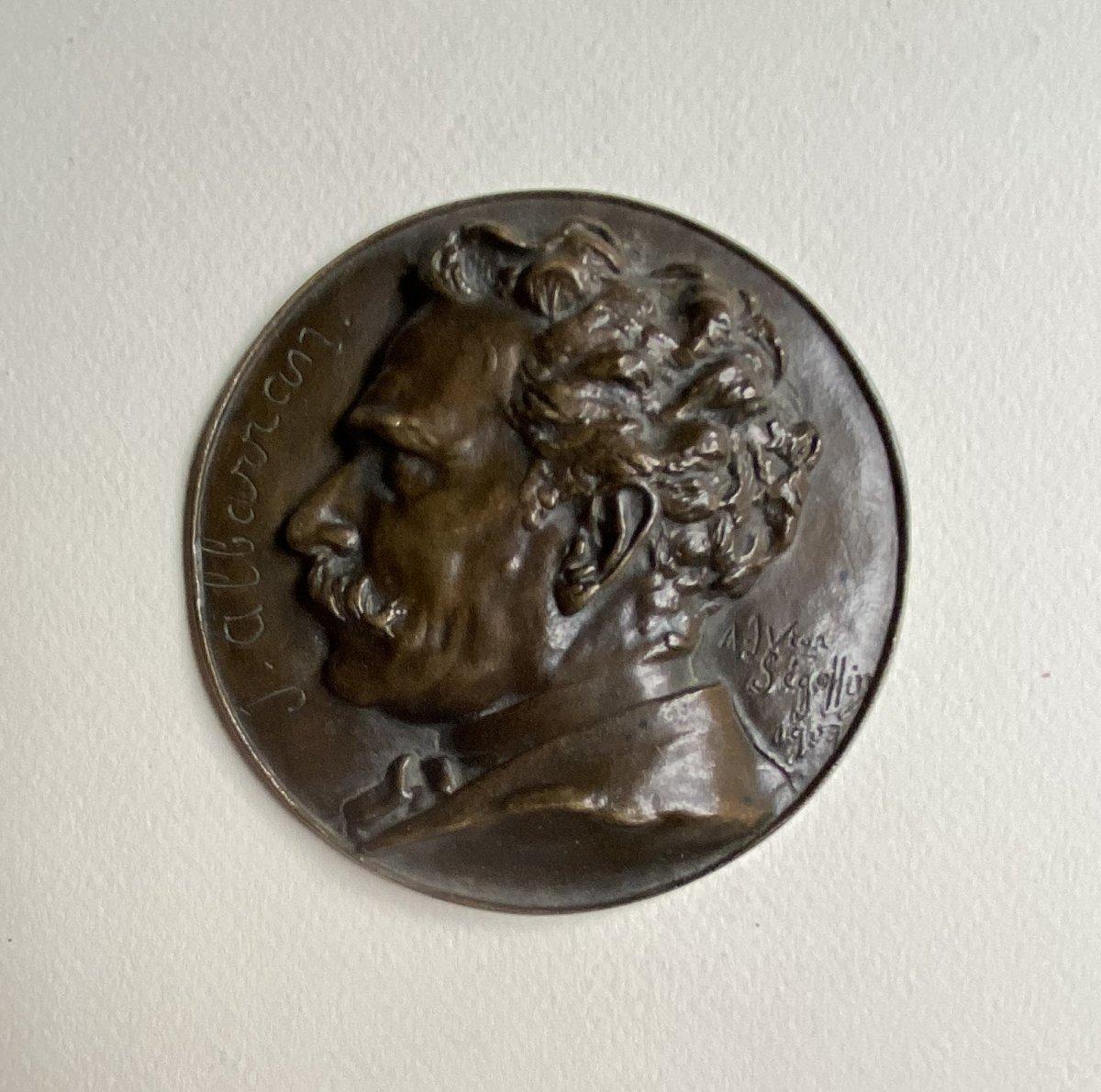 Joaquín Albarrán Medallion In Bronze Signed Victor Segoffin (1867-1925)