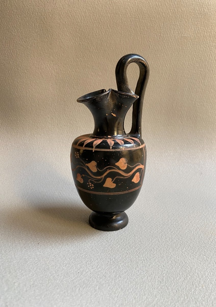 Oenochoé En Céramique Décor  De Pampres De Lierre Grande Grèce Gnathia IV Av.j.c. Italie