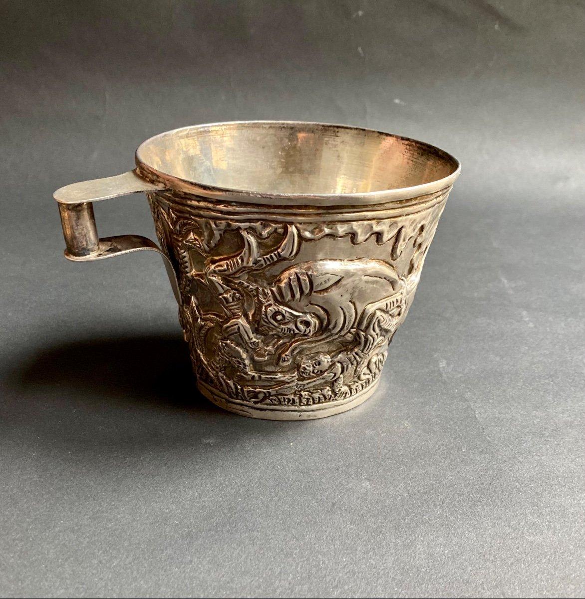 Goblet Du Trésor De Vaphio Tasse En  Argent , Travail Grec XXe d'Après l'Antique -photo-2