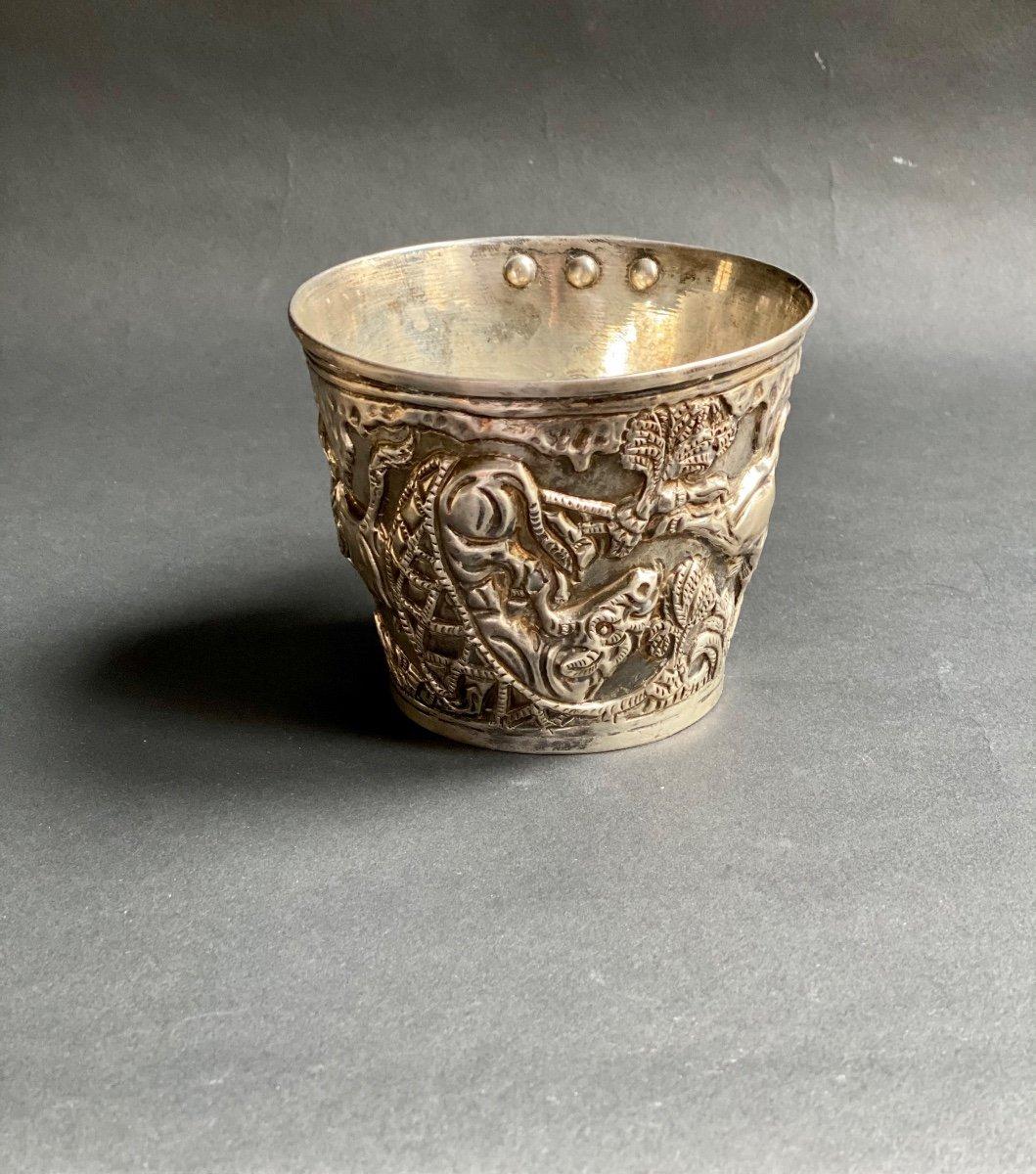 Goblet Du Trésor De Vaphio Tasse En  Argent , Travail Grec XXe d'Après l'Antique -photo-4