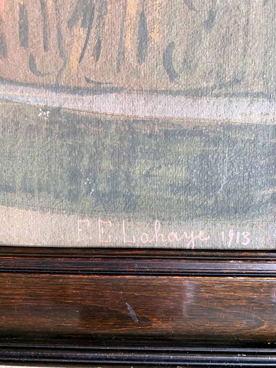 François-Étienne Lahaye : La Salle hypostyle de Karnak Louxor Égypte tableau peinture sur carton-photo-3