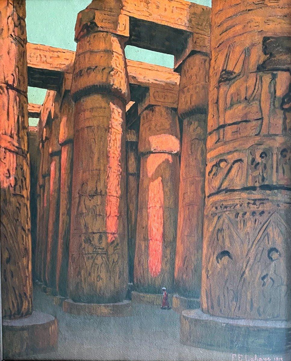François-Étienne Lahaye : La Salle hypostyle de Karnak Louxor Égypte tableau peinture sur carton-photo-4