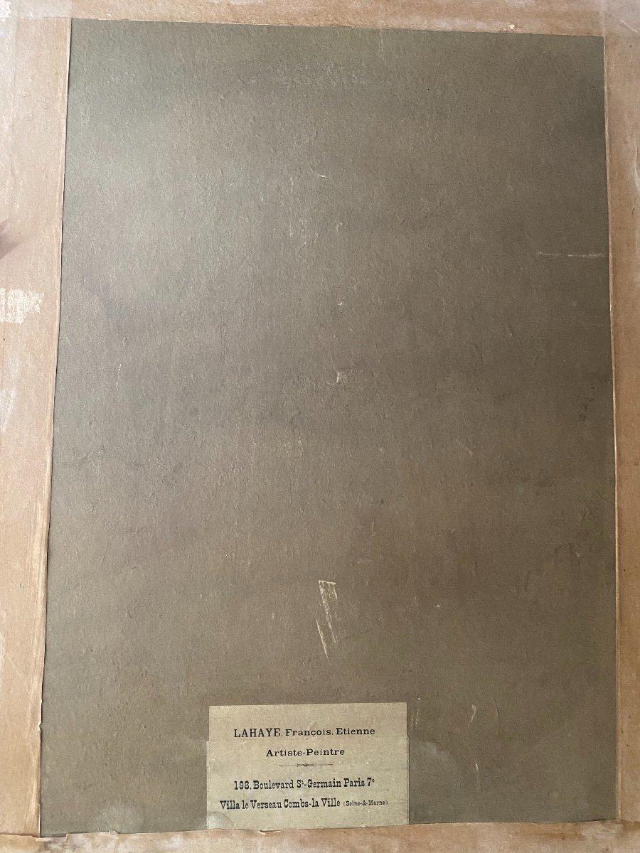 François-Étienne Lahaye : La Salle hypostyle de Karnak Louxor Égypte tableau peinture sur carton-photo-1