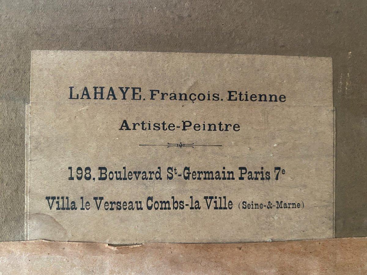 François-Étienne Lahaye : La Salle hypostyle de Karnak Louxor Égypte tableau peinture sur carton-photo-2