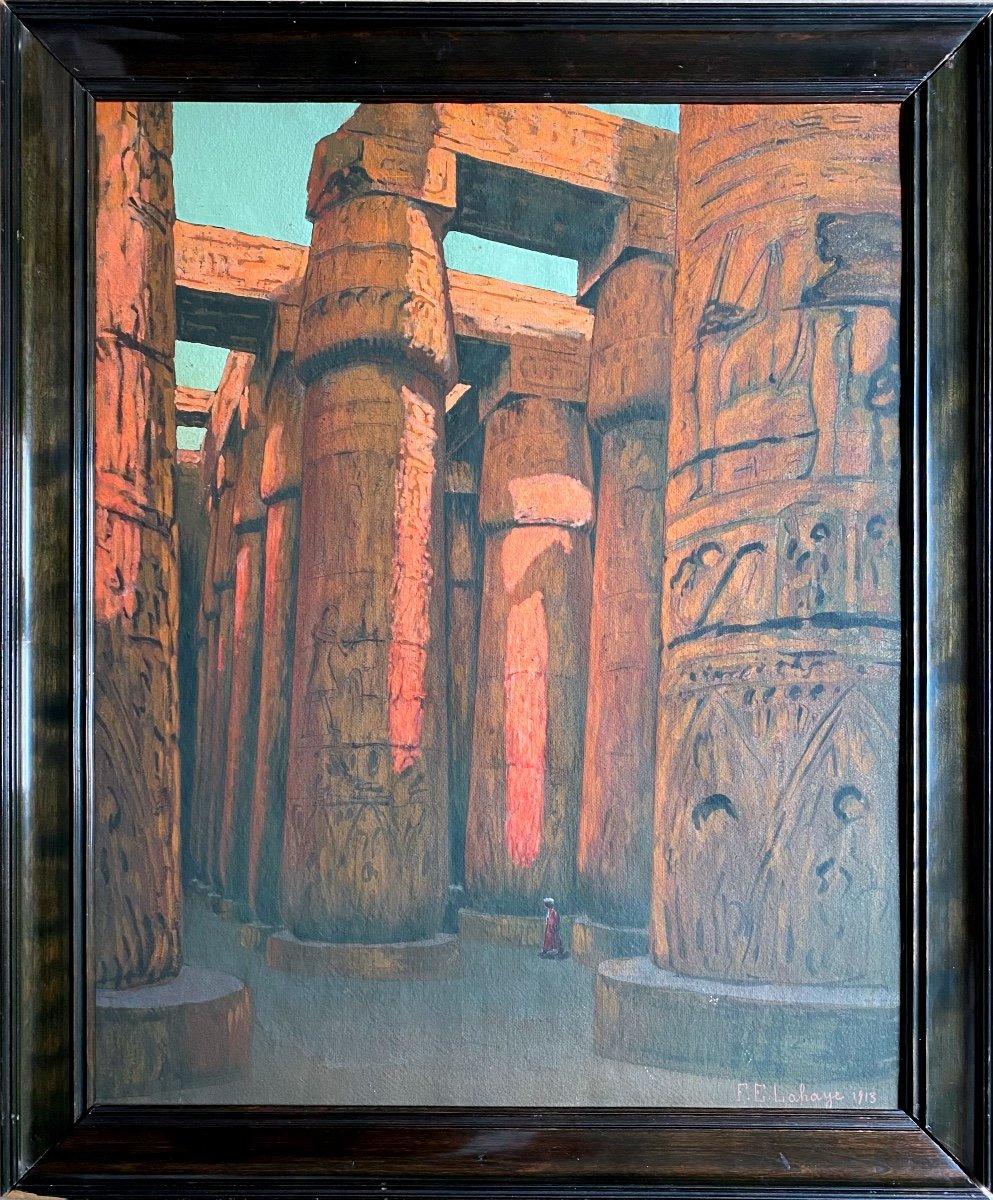 François-Étienne Lahaye : La Salle hypostyle de Karnak Louxor Égypte tableau peinture sur carton