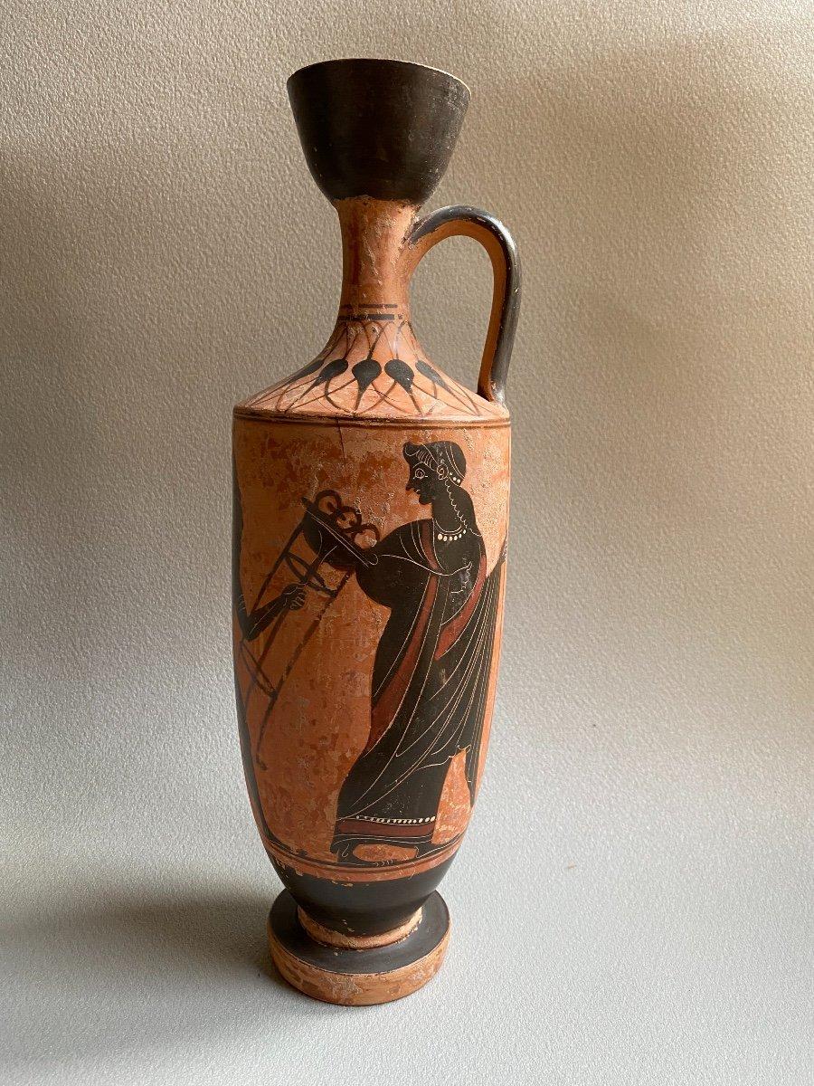 Grand Lecythe , Vase Grec Ancient scène mythologie  antique , XIXe Où Avant . -photo-2