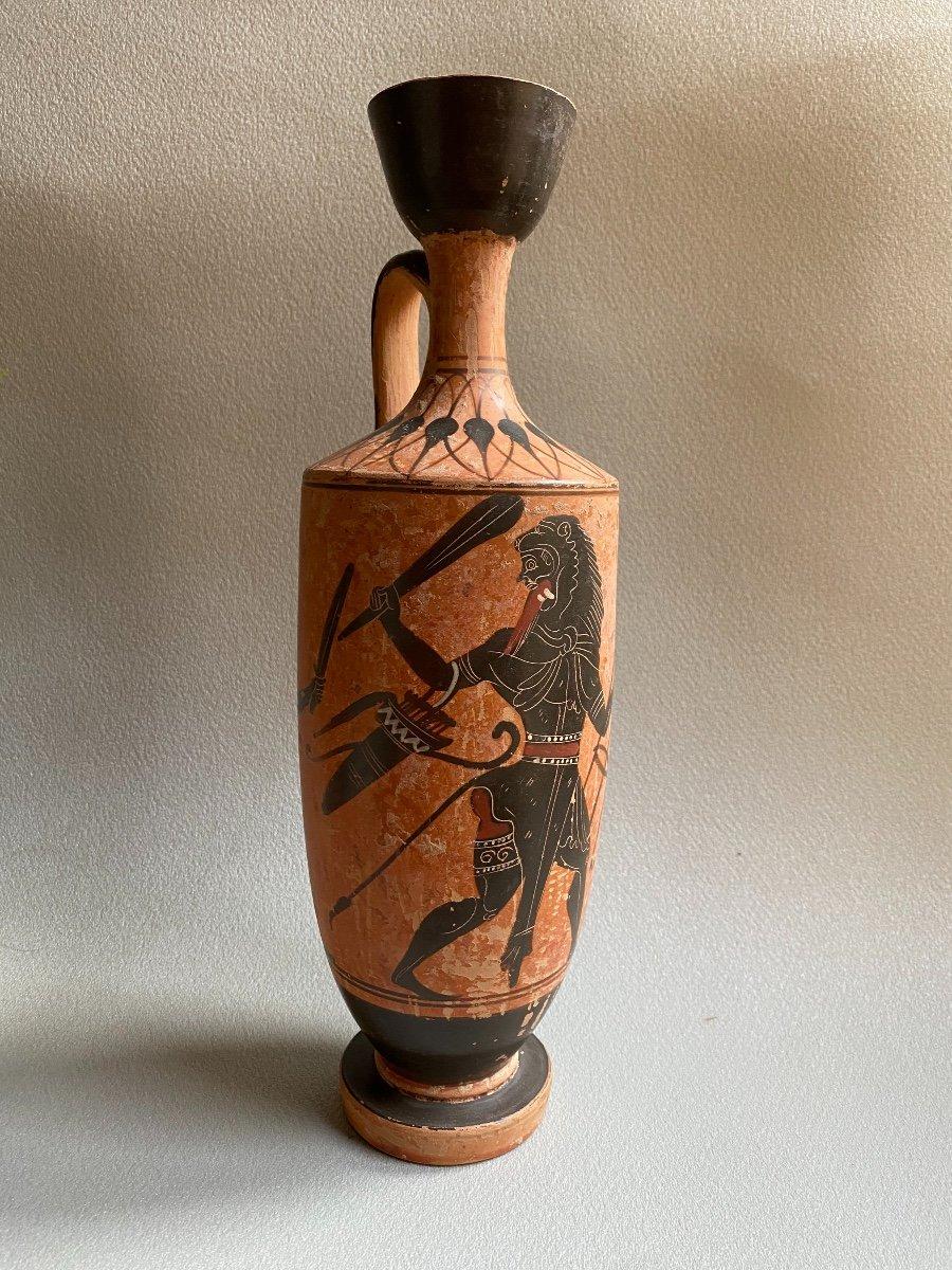 Grand Lecythe , Vase Grec Ancient scène mythologie  antique , XIXe Où Avant . -photo-7