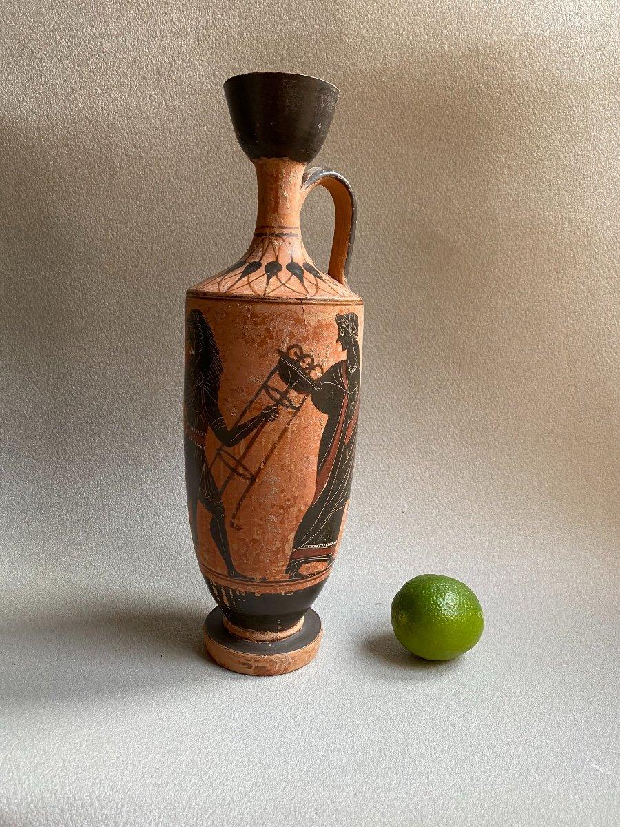 Grand Lecythe , Vase Grec Ancient scène mythologie  antique , XIXe Où Avant . -photo-8