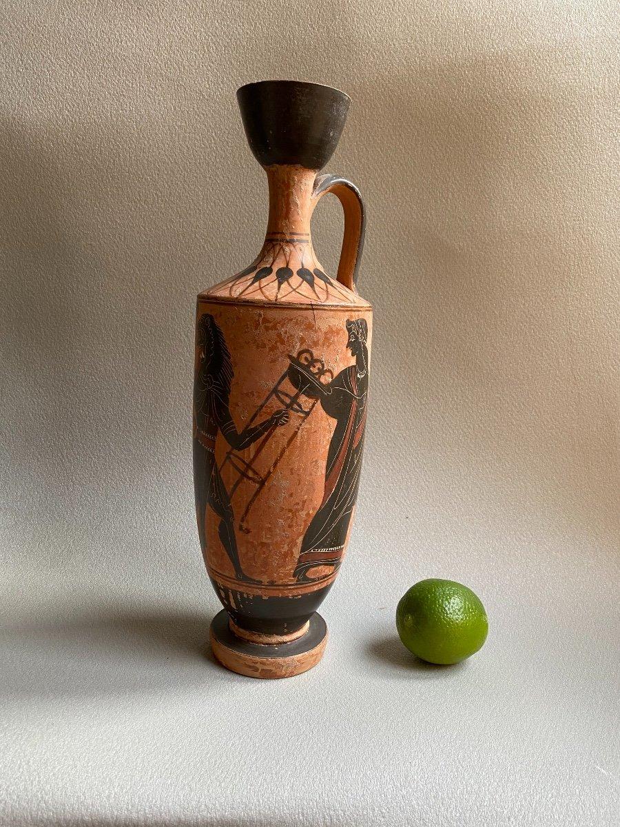 Grand Lecythe , Vase Grec Ancient scène mythologie  antique , XIXe Où Avant .