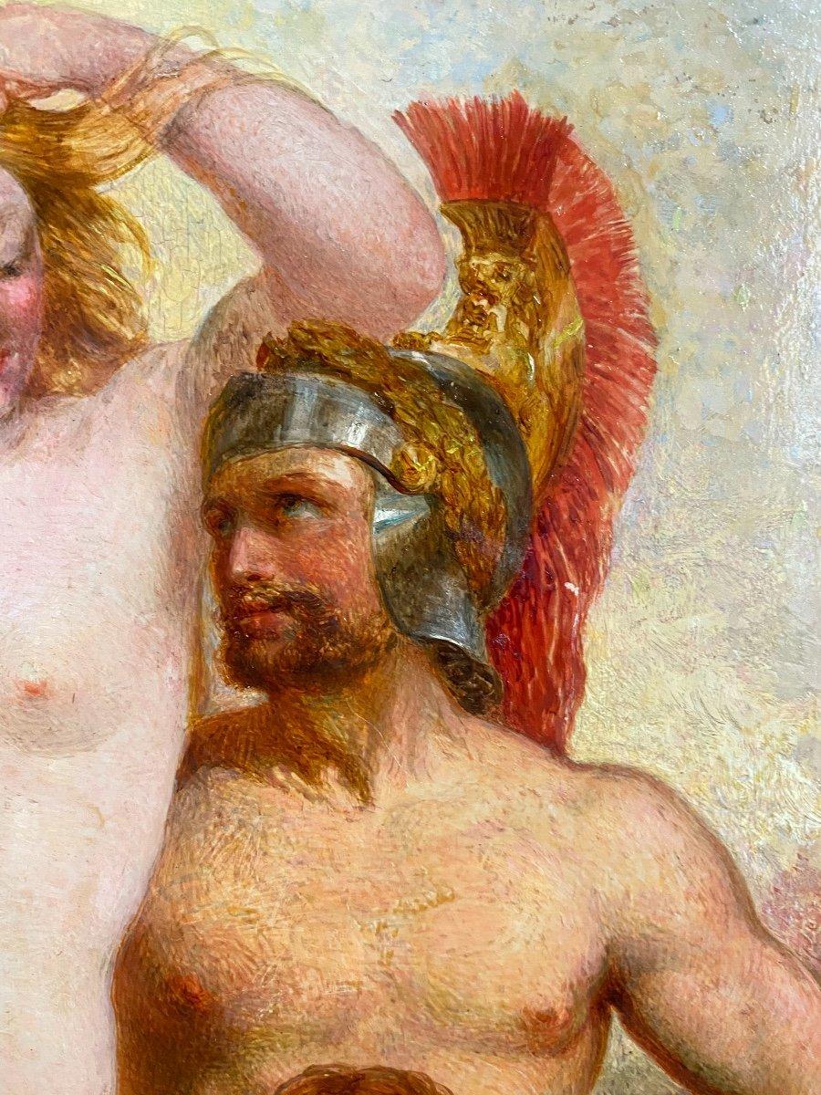 Mars Venus Et Cupidon , Tableau Mythologique  Huile Sur Panneau école Néoclassique Anglaise -photo-4