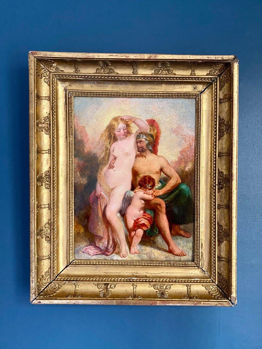 Mars Venus Et Cupidon , Tableau Mythologique  Huile Sur Panneau école Néoclassique Anglaise -photo-3