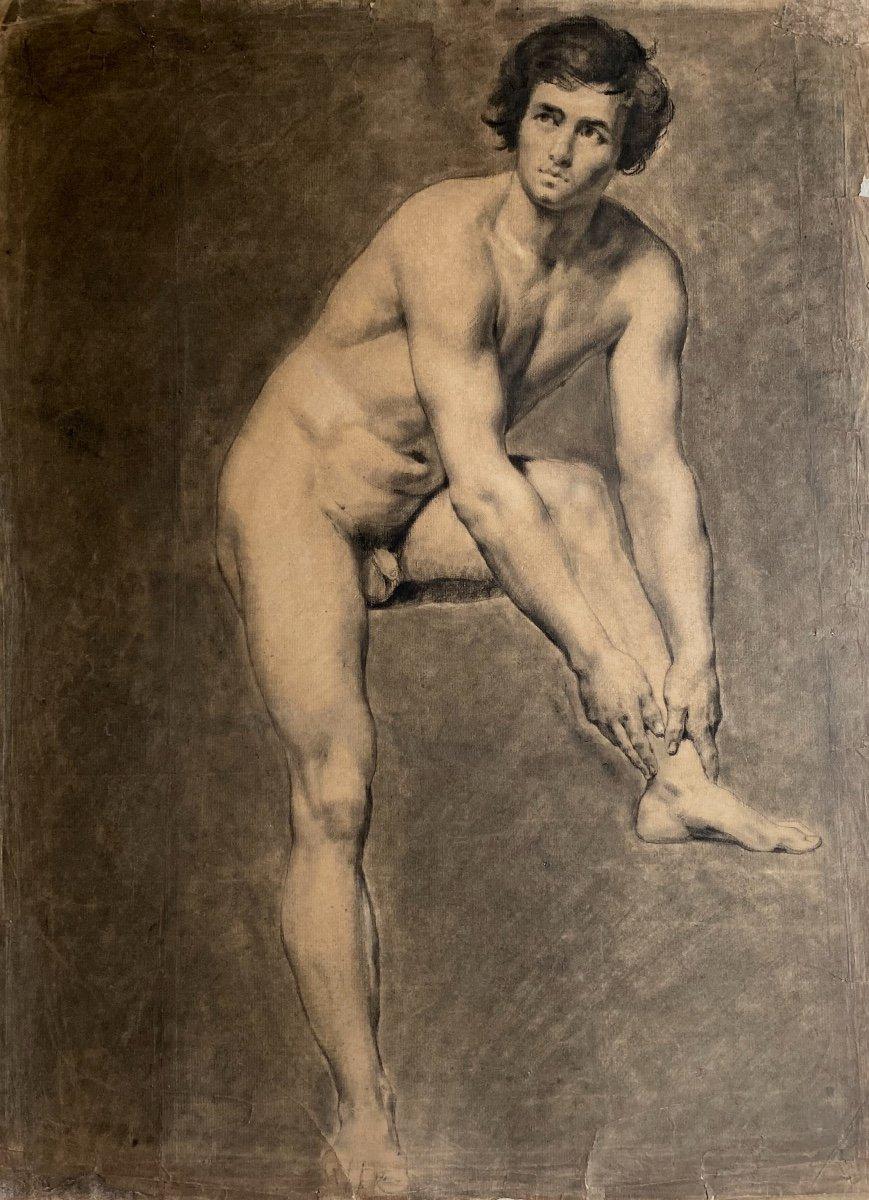 Atelier du Baron Gros Dessin Académie D'homme Romantique Nu Masculin XIX
